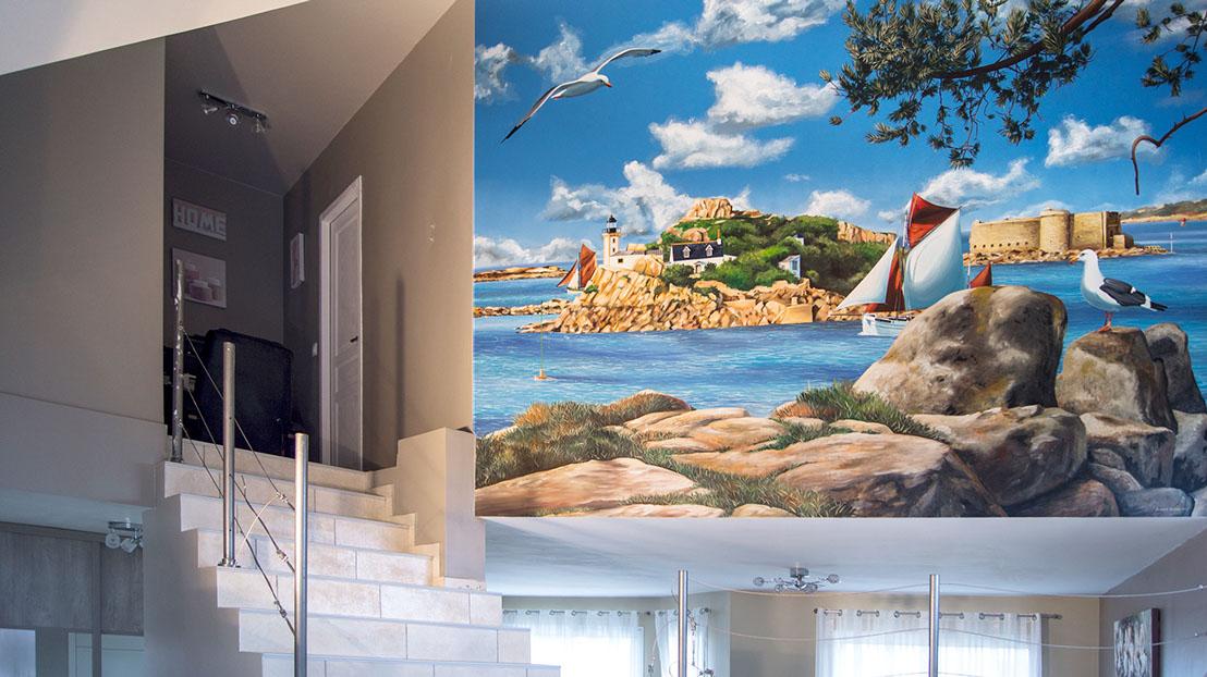fresques murales peintures trompe l oeil d 233 corative int 233 rieures maison villa piscines spa salon