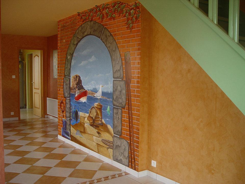Trompe l oeil interieur maison peinture en trompe l 39 - Trompe l oeil interieur ...